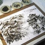 Живописные картины из чая Андрея Горковенко.