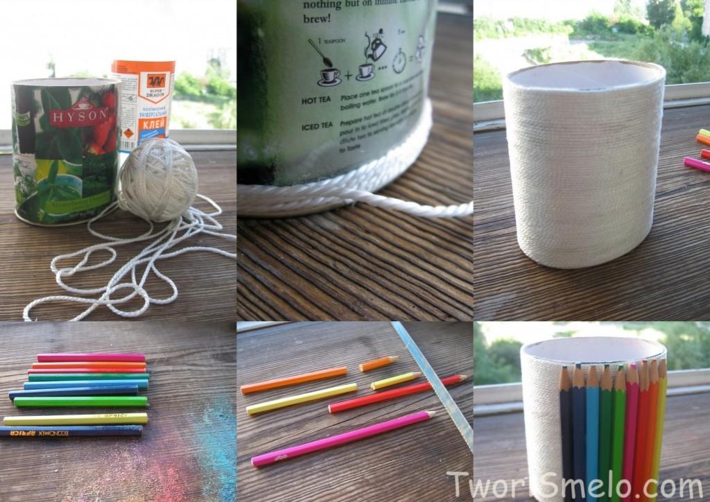Как сделать стакан для карандашей своими руками фото