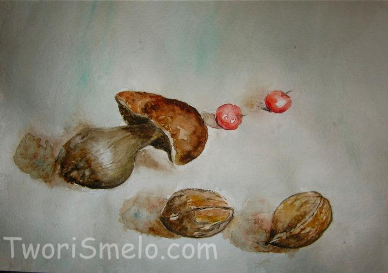 рисунок акварелью грибок и орехи