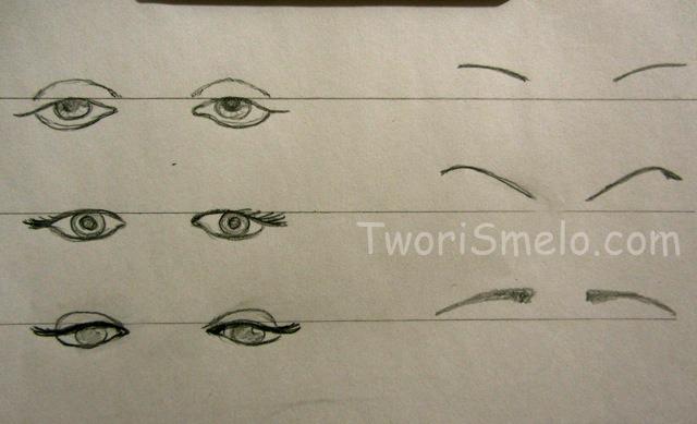 глаза и брови - нарисовать черты лица человека