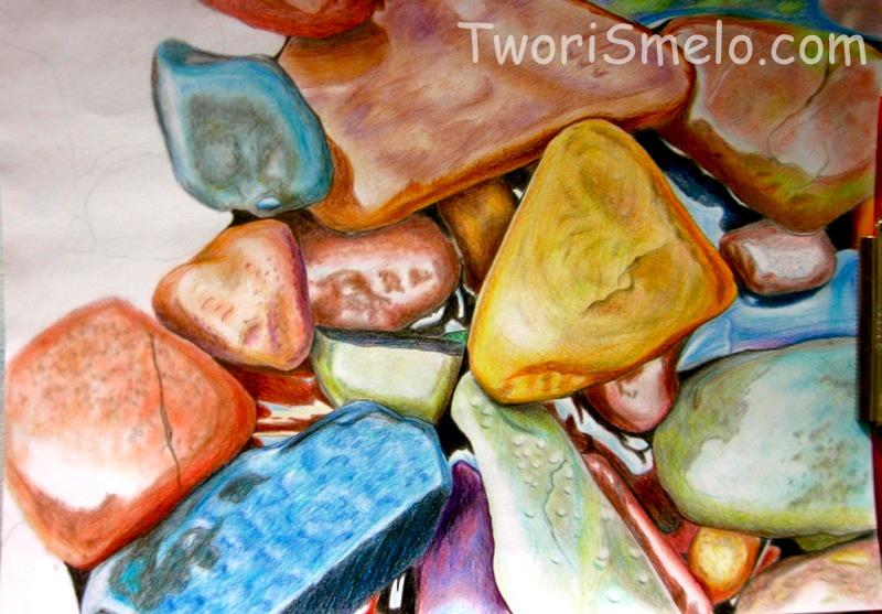 морские камни акварельными карандашами