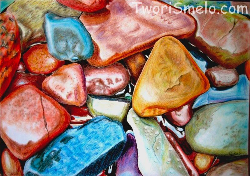 камни карандашами