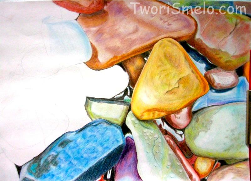 поэтапный рисунок морских камушков