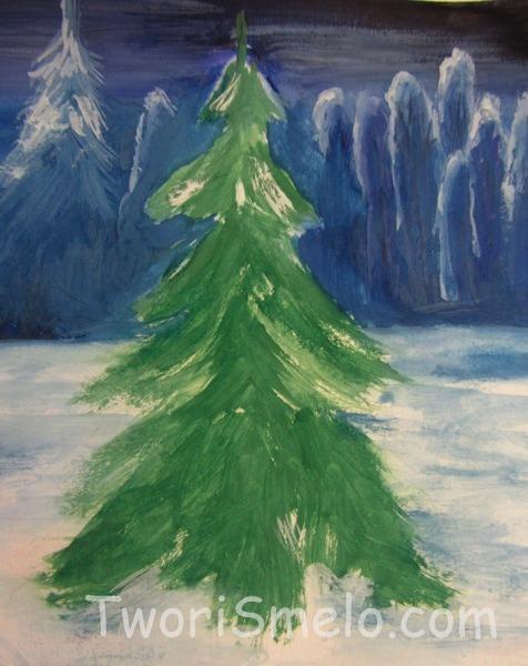 зимнюю нарисовать елку