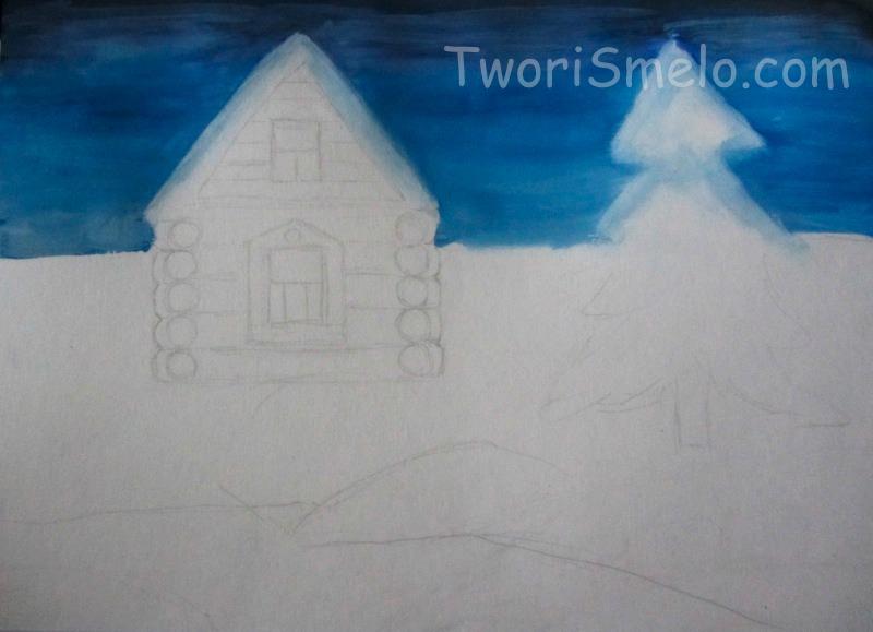 рисуем зимний домик гуашью