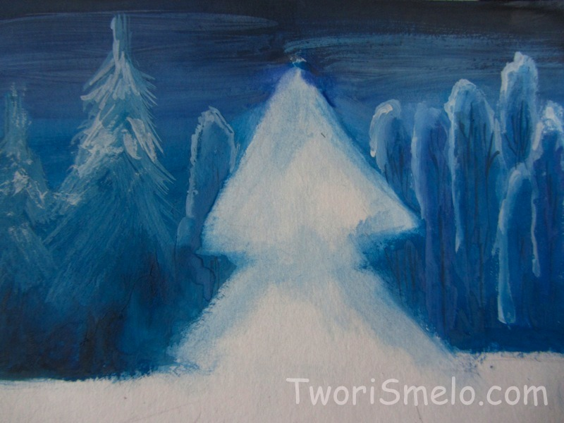 как поэтапно нарисовать зимний лес
