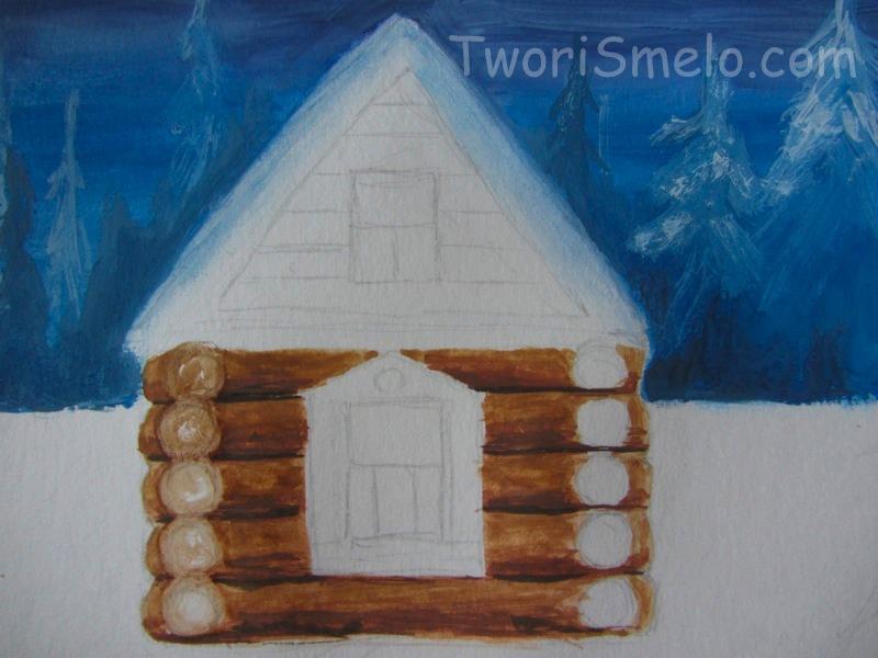 нарисовать домик гуашью