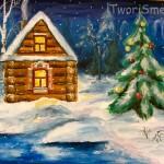 Как нарисовать зимний лес и домик, гуашью.
