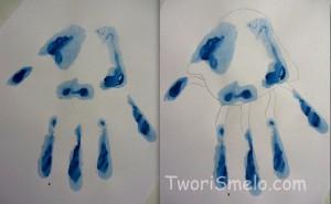 медуза из отпечатков рук