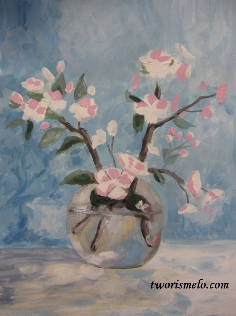 урок рисования ветки цветущей яблони