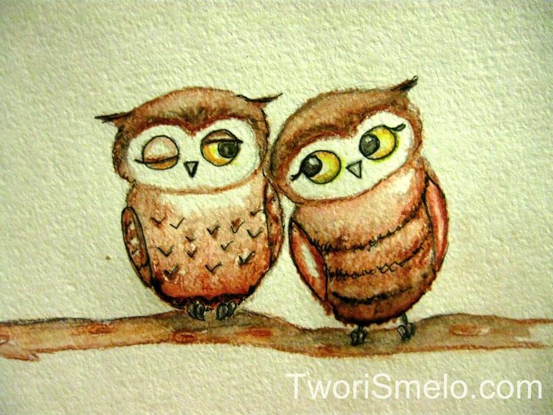 нарисовать сову цветными карандашами