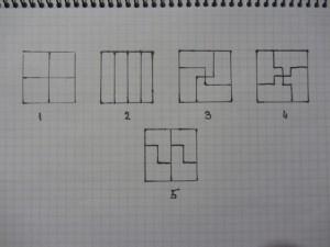 делим квадрат на 4 равные части