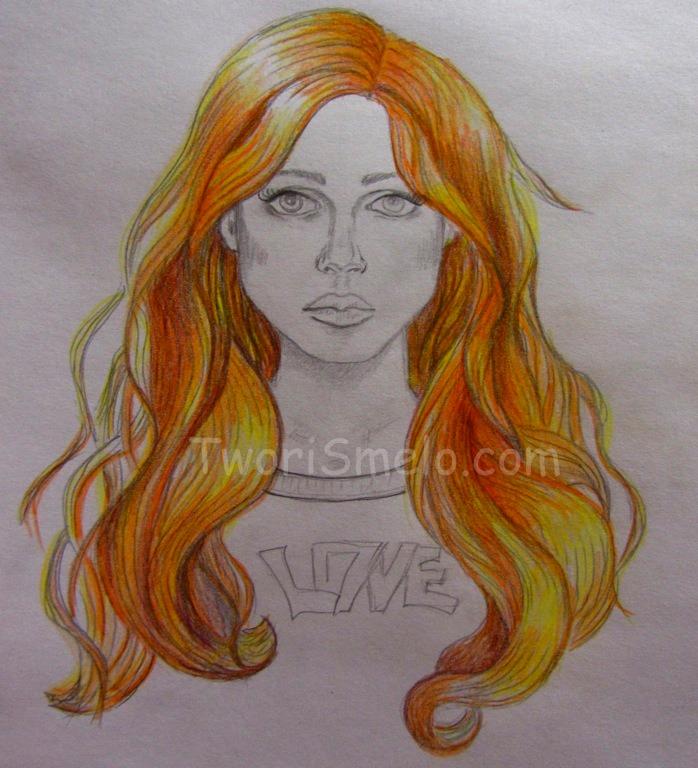 как нарисовать волосы цветными карандашами