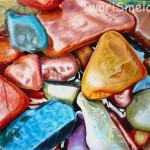 Морские камни акварельными карандашами.