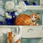 рыжие коты и цветы