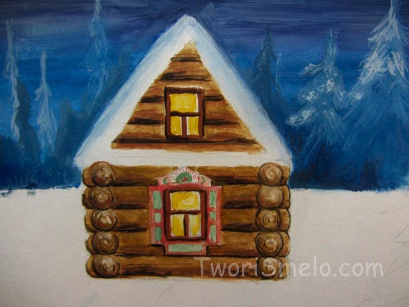 как нарисовать домик гуашью