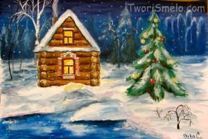 рисуем зимний лес и домик