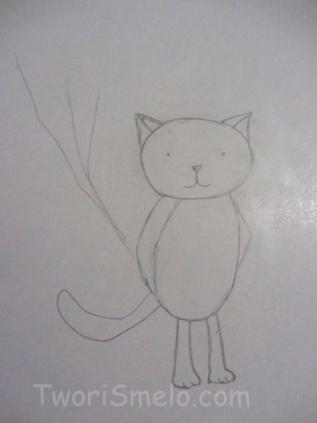 кот на детской открытке