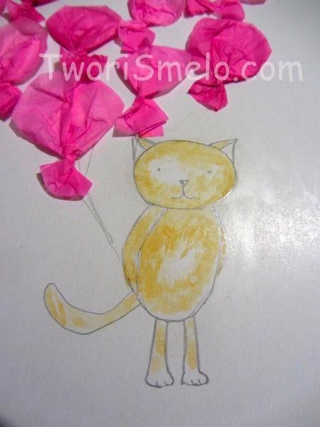 котик на открытке
