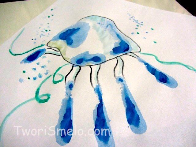 медуза из отпечатков руки