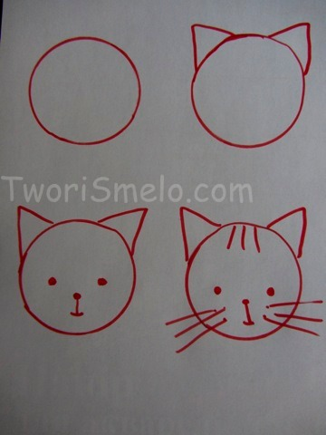 как научить нарисовать маленьких деток котенка