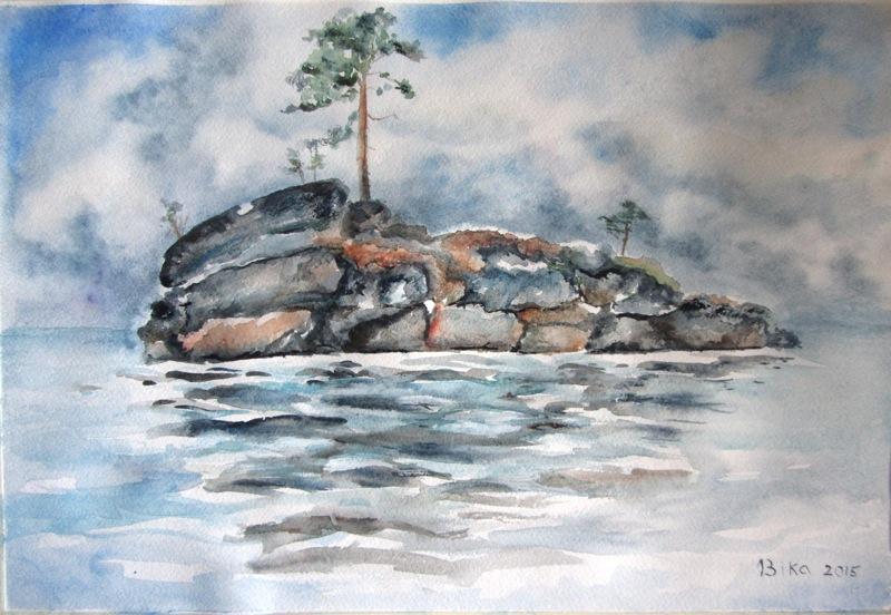 акварель, остров