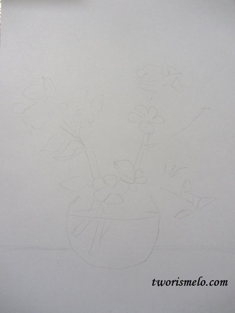 как нарисовать цветы яблони